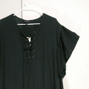 who what wear black lace up ruffle Dress Size XL